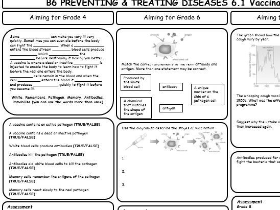 AQA GCSE 9-1 Biology B6 Revision Sheets (differentiated)
