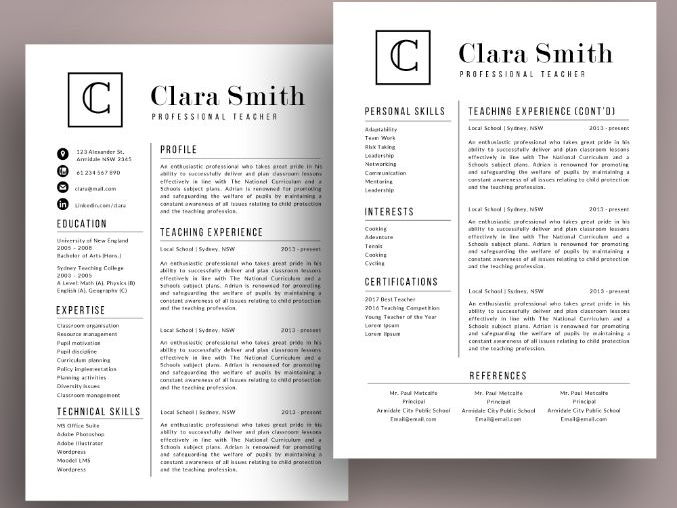 Modern initials teacher resume template for MS PowerPoint (pptx)