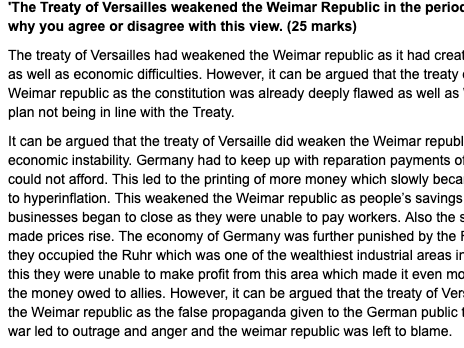 A LEVEL HISTORY EXAMPLE ESSAY ON THE TREATY OF VERSAILLE