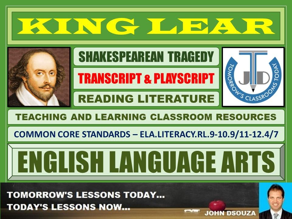 KING LEAR - TRANSCRIPT AND PLAY-SCRIPT - FREEBIE