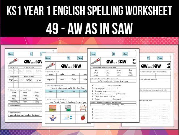 Spelling & Phonics Worksheet - ɔː sound spelled AW