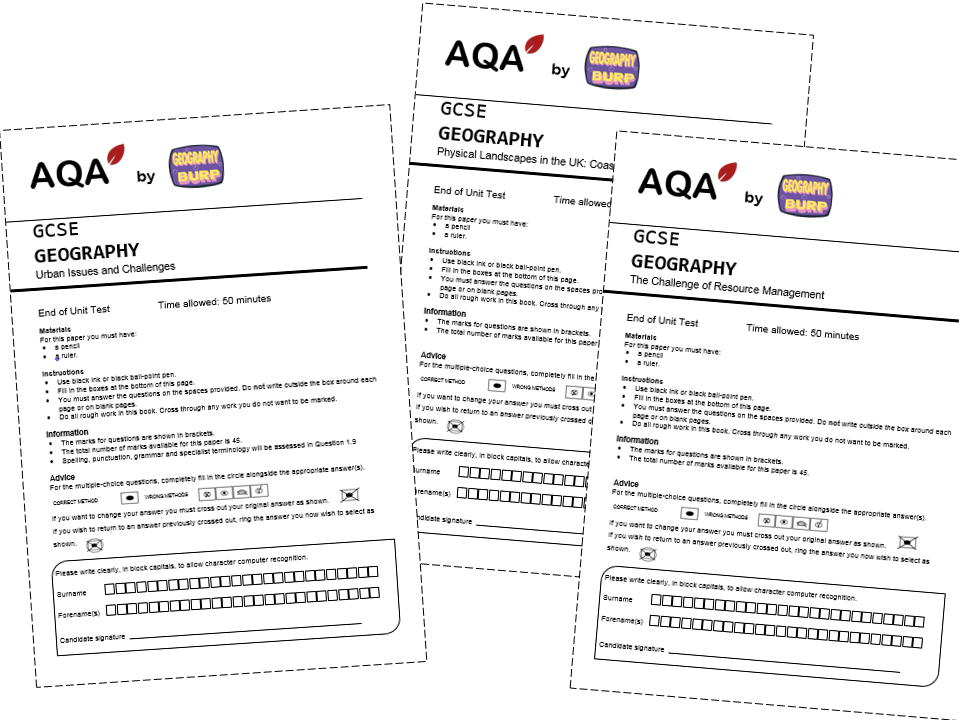 AQA GCSE Geography (9-1) - 3 x End of Unit Tests and Mark Schemes