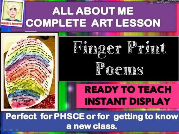 NEW CLASS/TRANSITION DAY - ALL ABOUT ME - COMPLETE LESSON -FINGERPRINT POEMS