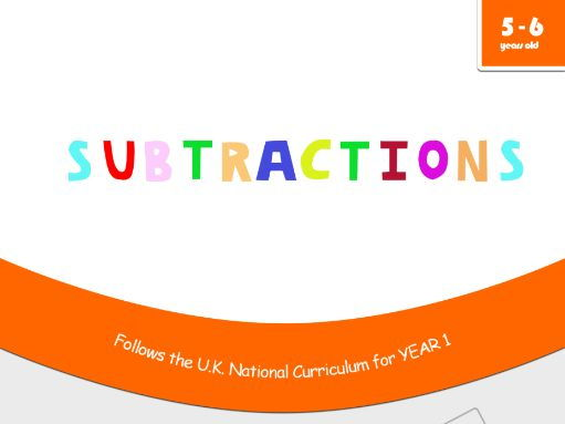 Subtractions - Maths Workbook for 5 and 6 years old - Compatible with Year 1 objectives