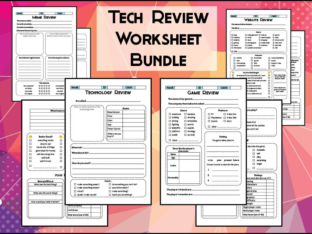 Technology Review Worksheet Bundle