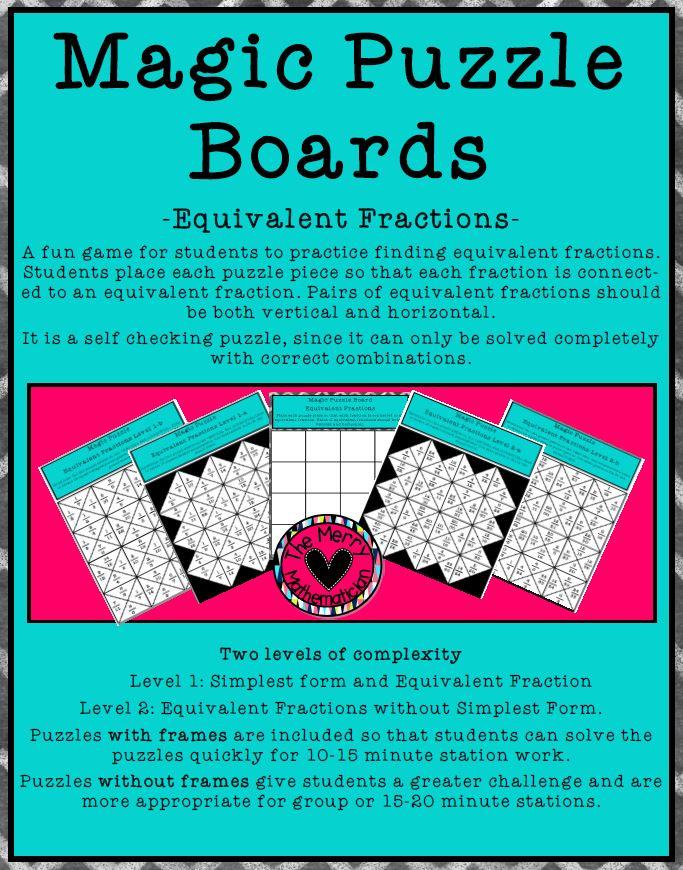 Mathematics Magic Puzzle Boards Grades 4-6 by widenmo6684 - Teaching ...