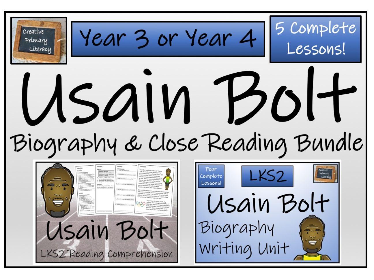 LKS2 Usain Bolt Reading Comprehension & Biography Bundle