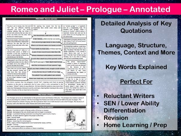 Romeo and Juliet Prologue Annotated