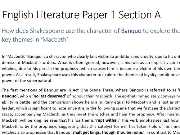 GCSE English Literature: Macbeth Essay