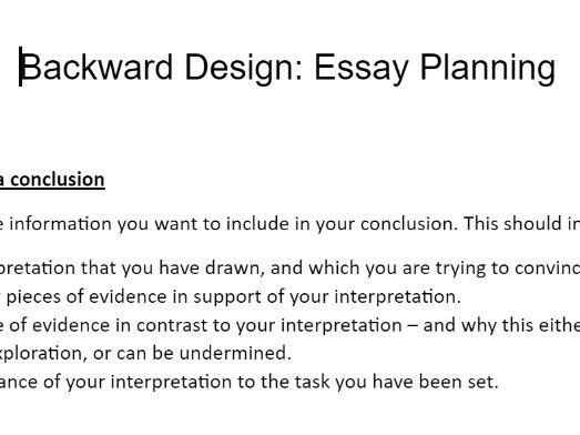 Backward Planning: Essays