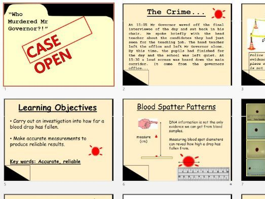 Blood splatter Forensic Murder Mystery Project (HSW/Skills/Graphs) - KS3/KS4 Science STEM