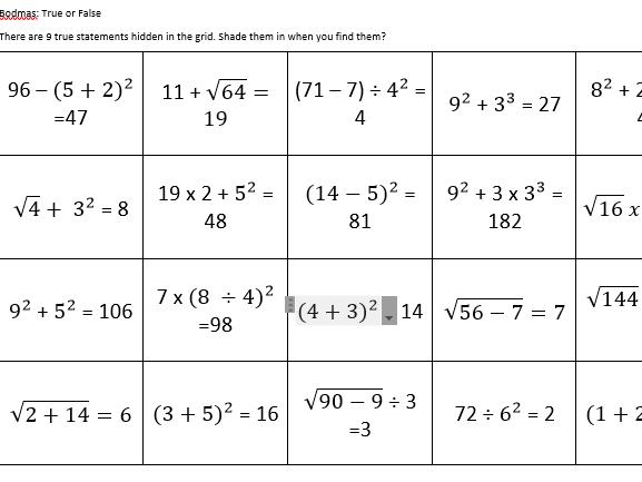 GCSE Maths/Functional Skills-BODMAS