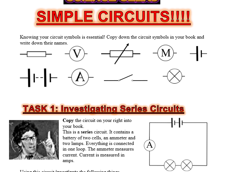 INVESTIGATE! - SIMPLE CIRCUITS IN SERIES AND PARALLEL