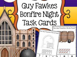 Guy Fawkes Ten Frame Task Cards, Bonfire Night