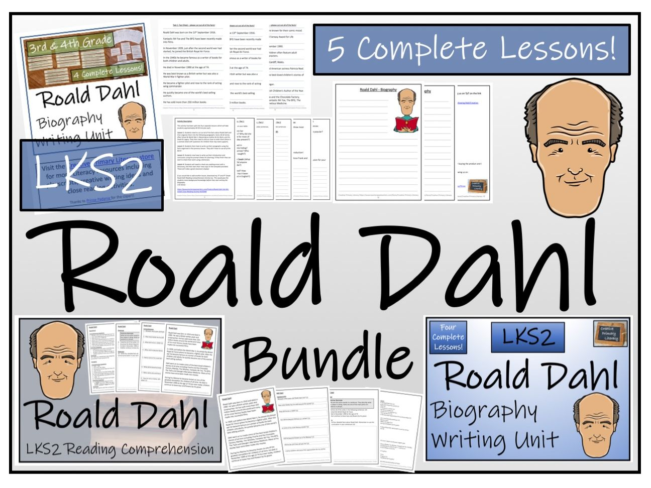 LKS2 Literacy - Roald Dahl Reading Comprehension & Biography Bundle