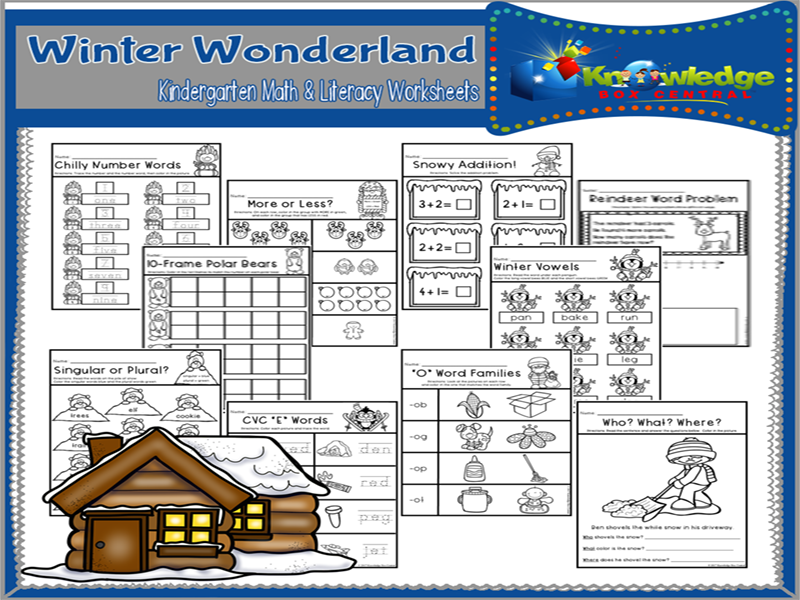 Winter Wonderland Kindergarten Math & Literacy Worksheets