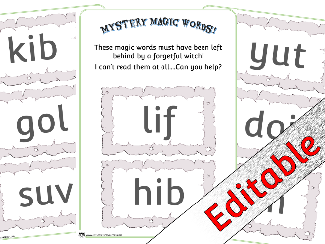 Phase 2 Phonics/Letters and Sounds Nonsense Words - Mystery Magic Words theme - Editable