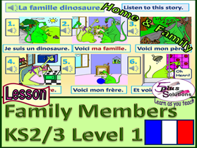 "PRIMARY FRENCH LESSON (KS2/3): Family members, inter-family relationships;""Here is my..."";"