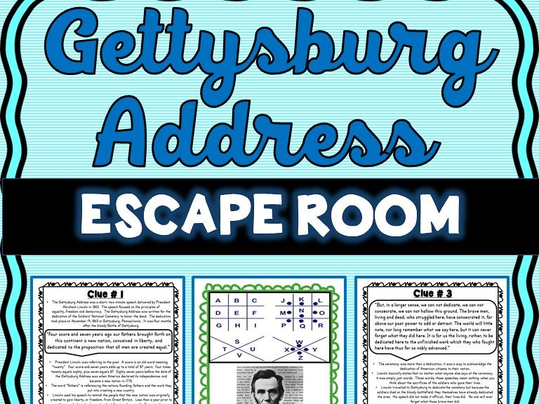 Gettysburg Address ESCAPE ROOM: Translation - Abe Lincoln