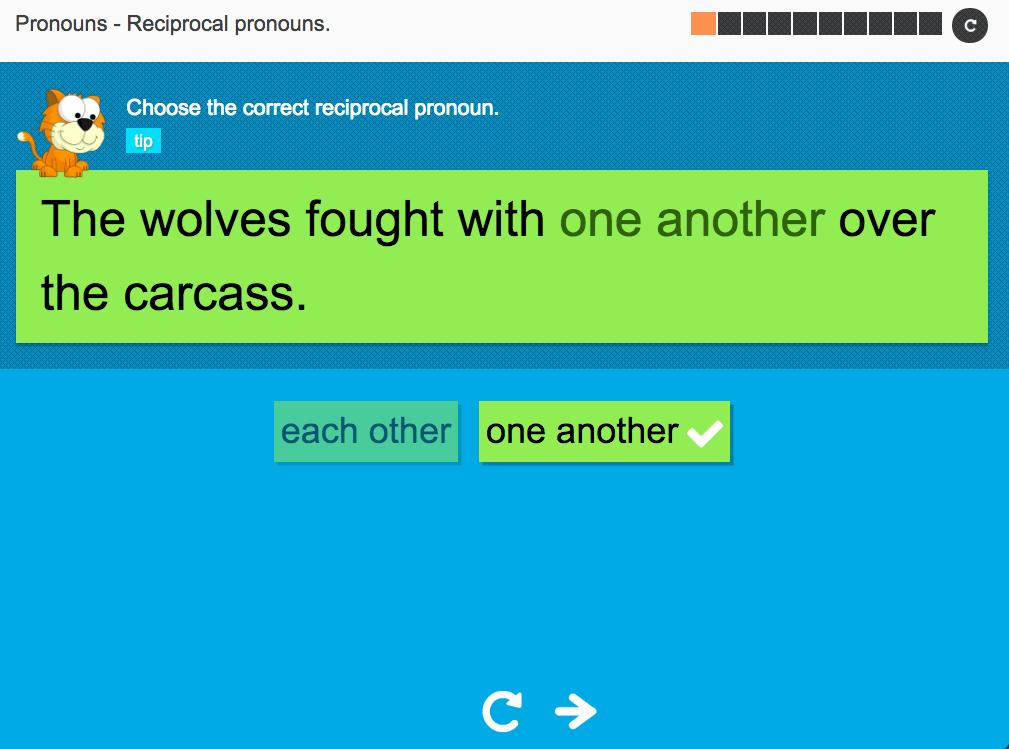 Reciprocal pronouns - Interactive Activity - KS3 Spag