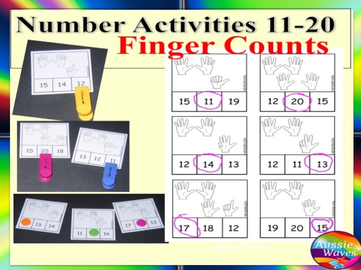 Kinder Maths Centre Activity Counting Fingers Numbers 11-20 Number Recognition