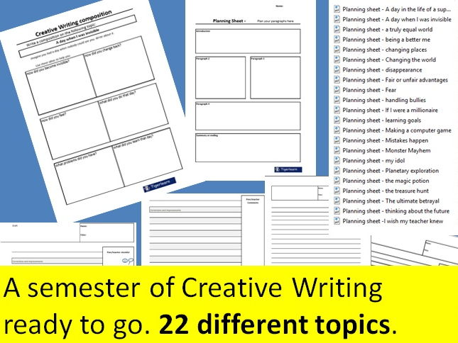 Creative writing for the entire semester (Primary School) - 22 topics/tasks