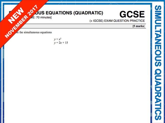 GCSE 9-1 Exam Question Practice (Simultaneous Equations with Quadratics)