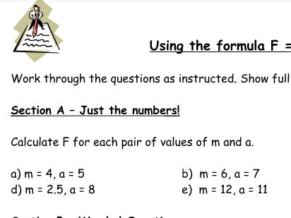 Using the formula FMA Force Mass Acceleration 2nd Law