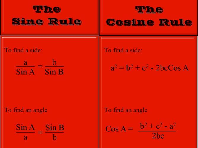 The Sine and Cosine Rule - 6 worksheets with answers