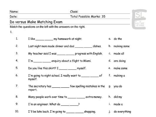 Do versus Make Matching Exam