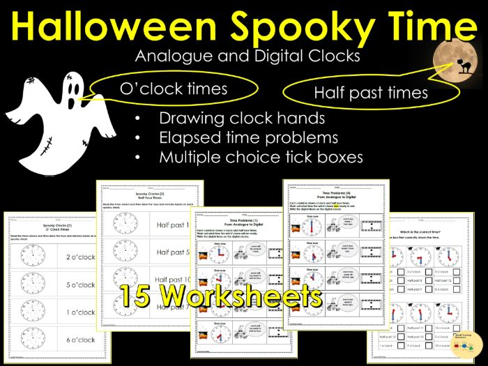 Halloween Telling the Time: Digital and Analogue Clocks, Elapsed Time, Reading /Writing Clock Times