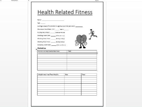 Health Related Fitness Worksheet Key Stage 3 And 4 By Nwalters1