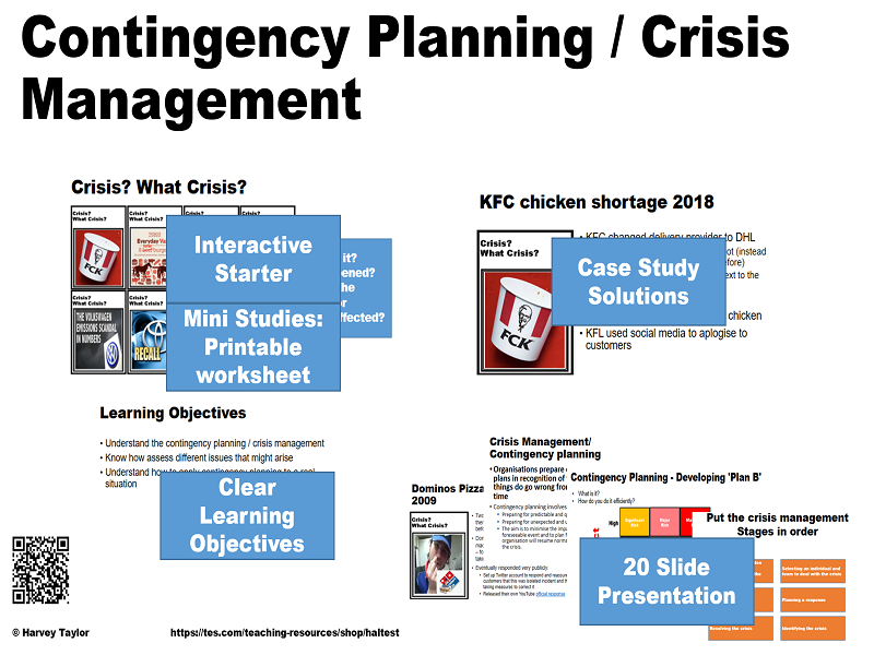 Contingency Planning / Crisis Management - Full lesson -AS/A2/IB Diploma