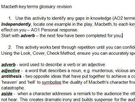 Macbeth Key Terms Glossary Revision