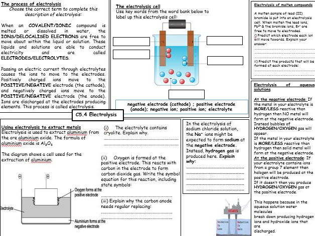 C4 - electrolysis revision broadsheet for Combined science GCSE - FOUNDATION