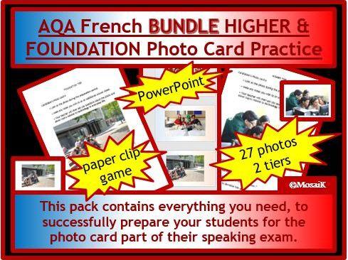 AQA French GCSE Photo Card pack BUNDLE