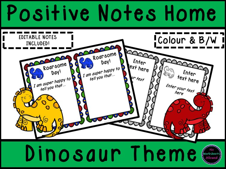 Positive Notes Home to Parents - Dinosaur Theme