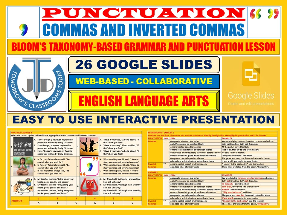 COMMAS AND INVERTED COMMAS - PUNCTUATION: 26 GOOGLE SLIDES