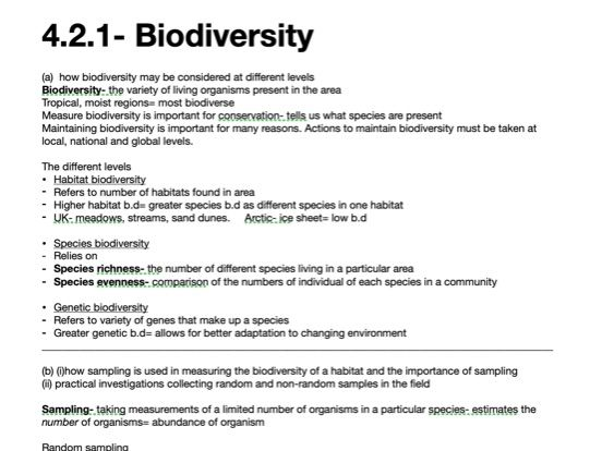 AS Level Biodiversity Notes