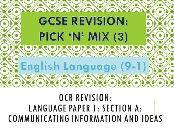 OCR Pick 'n' Mix Revision Paper: Language Paper 1: Section A