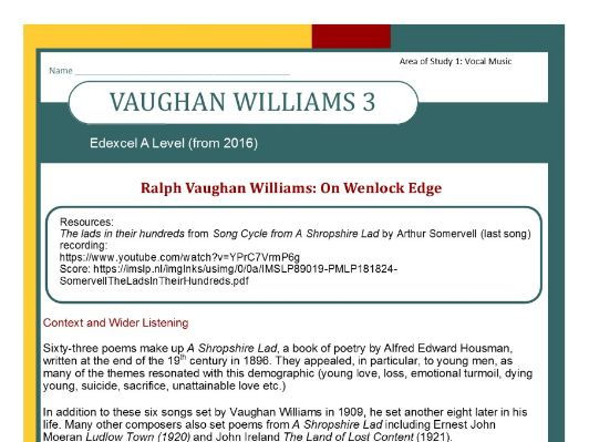 Edexcel Music A Level (from 2016) Vaughan Williams 3 Context and Wider Listening