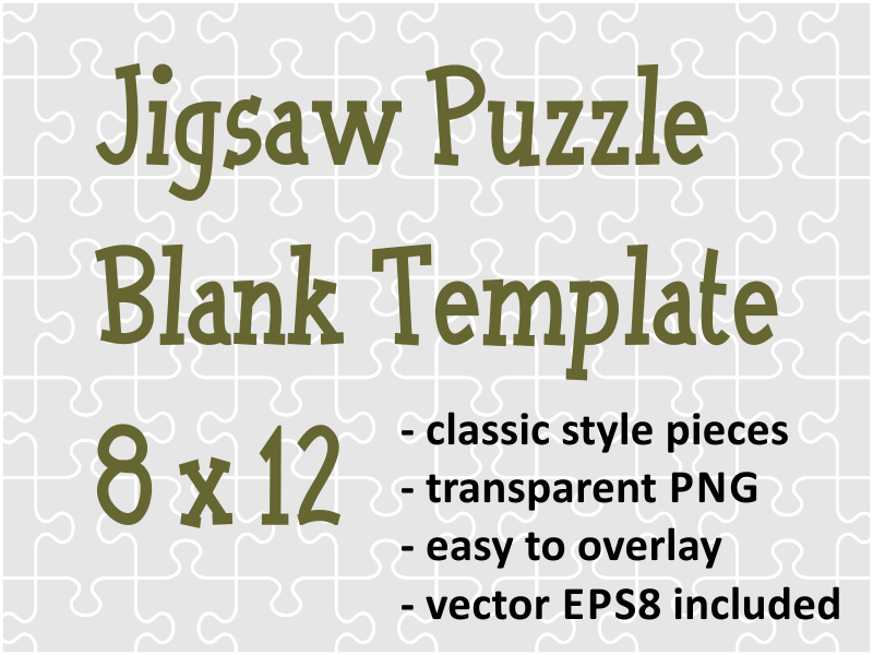 Jigsaw Puzzle Blank Transparent Template of 96 Pieces