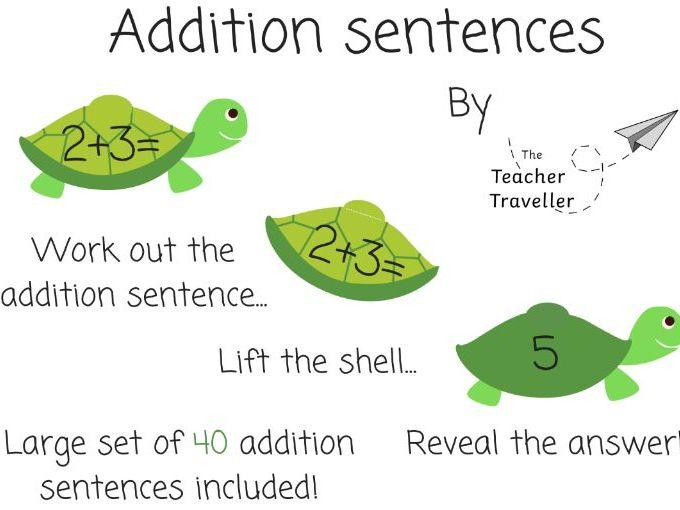 Tiny Turtle Addition Sentences (EYFS + KS1)