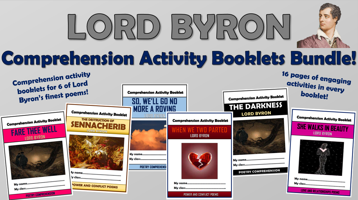 Lord Byron Comprehension Activity Booklets Bundle!