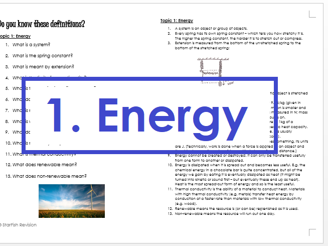 AQA GCSE 9-1 Physics: REVISE YOUR DEFINITIONS! Topic 1: Energy