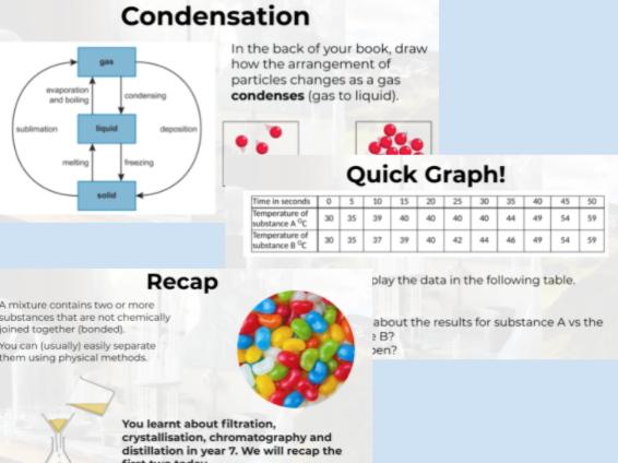 CC1-CC2 States of Matter & Separating Mixtures FULL LESSON POWERPOINTS (GCSE Edexcel Chemistry)