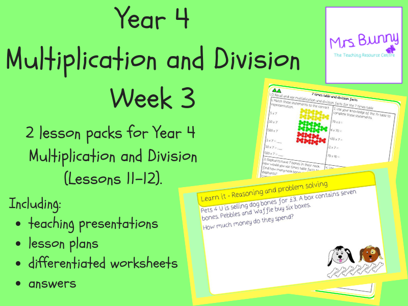 Year 4 Multiplication and Division Week 3