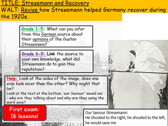 REVISION Stresemann and recovery (Edexcel 9-1: Weimar and Nazi Germany)