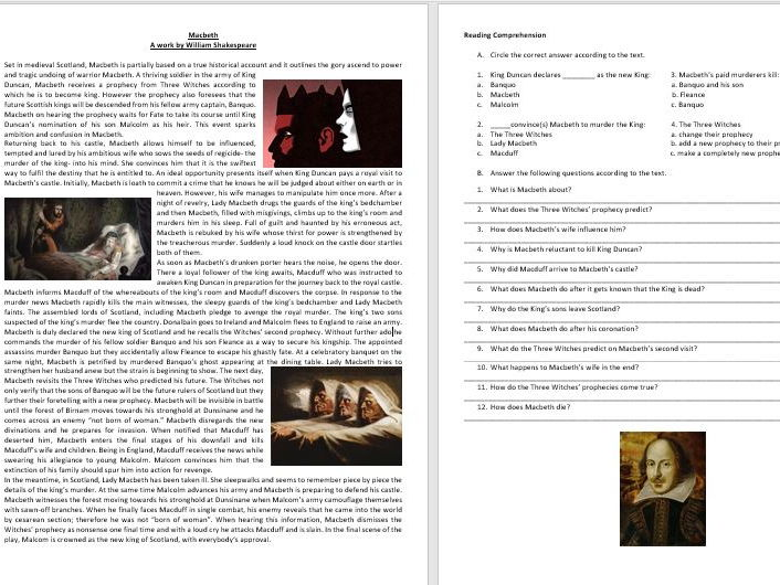 Macbeth by William Shakespeare  - Reading Comprehension - Vocabulary Worksheet