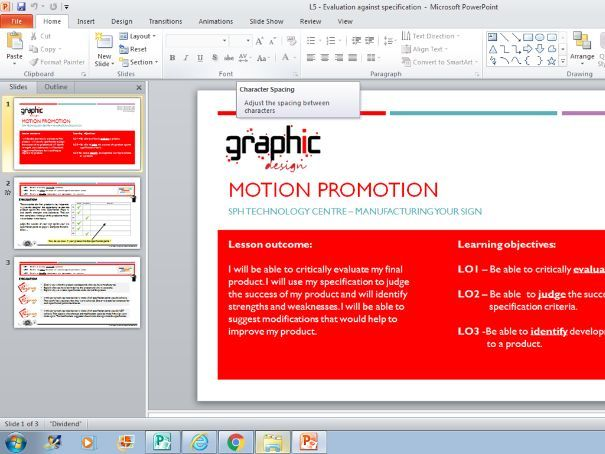 Motion - Evaluation against Specification PPT.